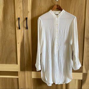Vintage White Mandarin Collar Ribbed Tunic